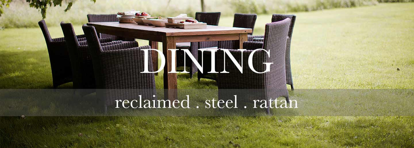 Garden dining set with reclaimed wood table and rattan dining chairs for outdoors
