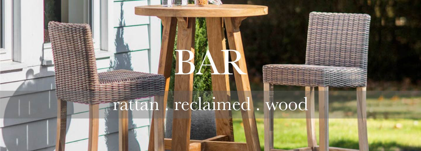 St Mawes Reclaimed Wood Round Bar Table Set with rattan chairs for outdoors