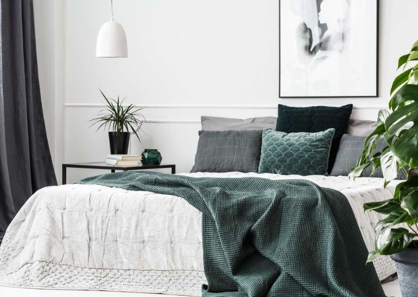 Large bed with grey blanket thrown over end and various grey coloured cushion. Bedroom also features a white hanging pendant light and large green house plant