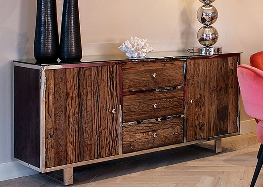 industrial sideboard with reclaimed wood and polished metal detailing