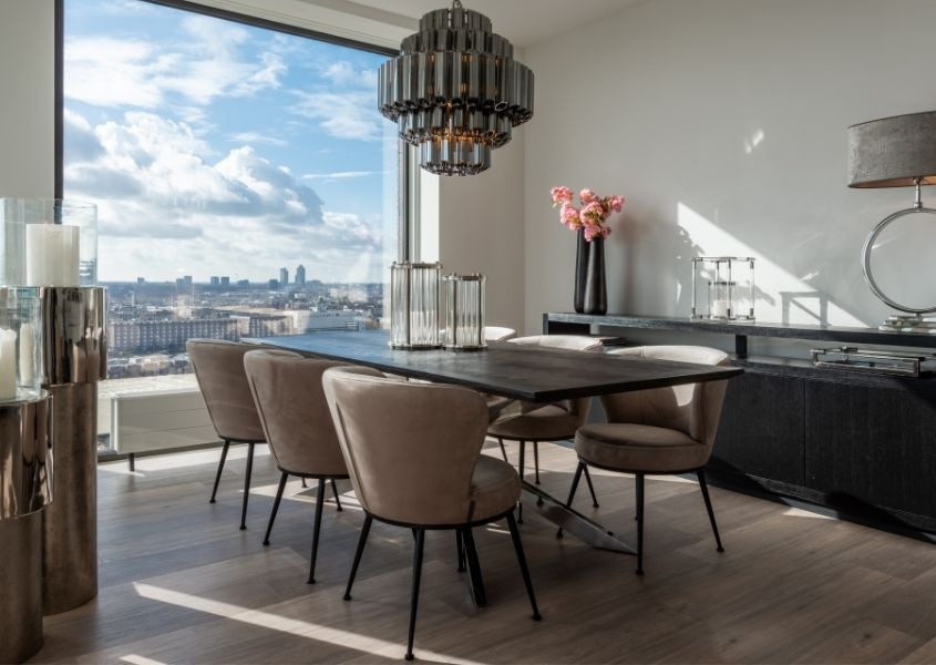 industrial dining room furniture with industrial dining table and faux leather dining chairs