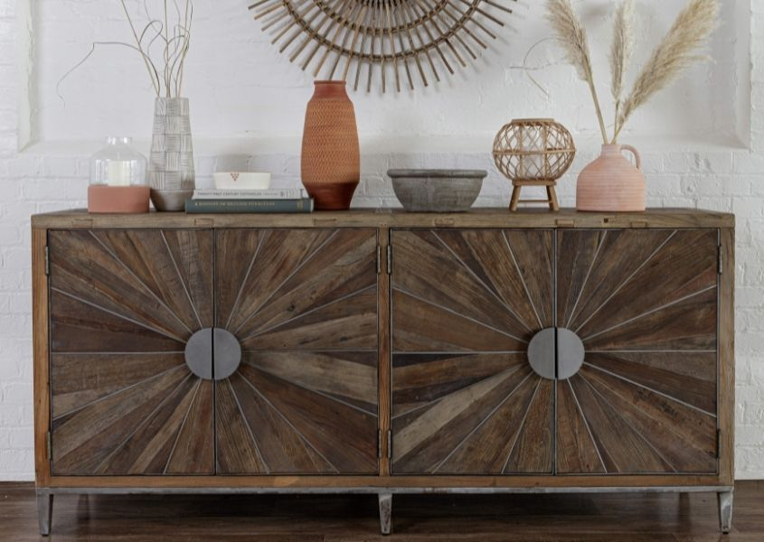 reclaimed wood sideboard with two double cupboards and round metal handles