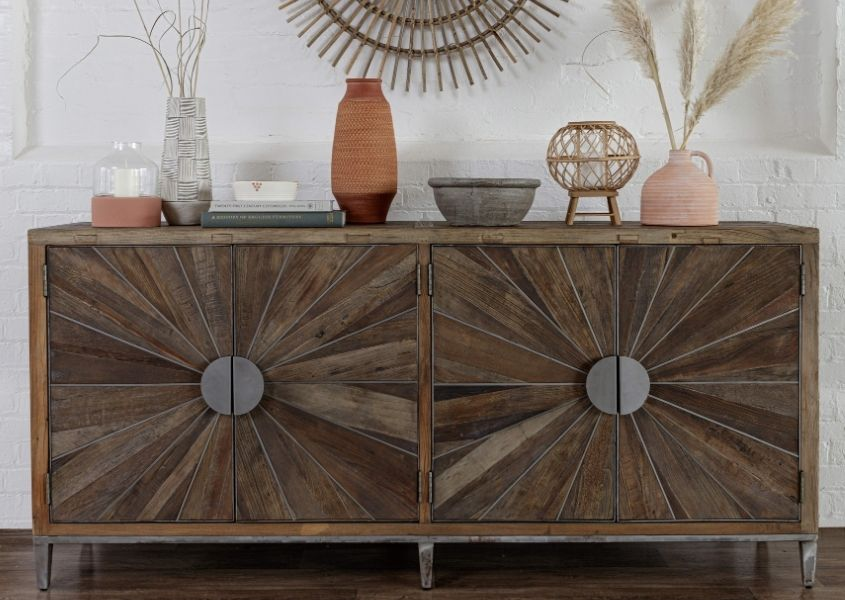 Reclaimed wood sideboard with stainless steel detailing