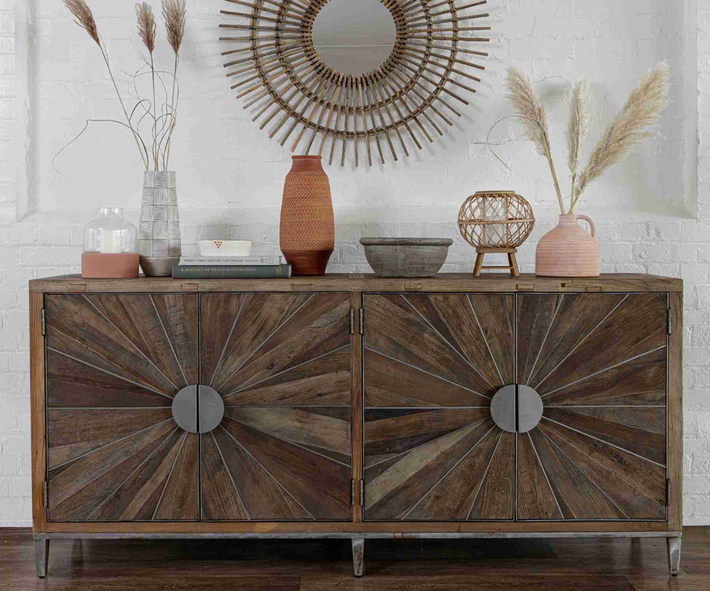 Reclaimed wood sideboard with metal detailing and round bamboo mirror above