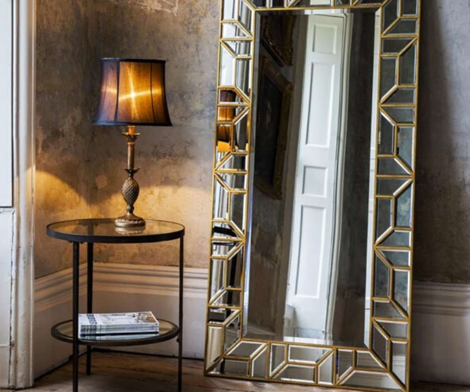 retro gold floor standing mirror