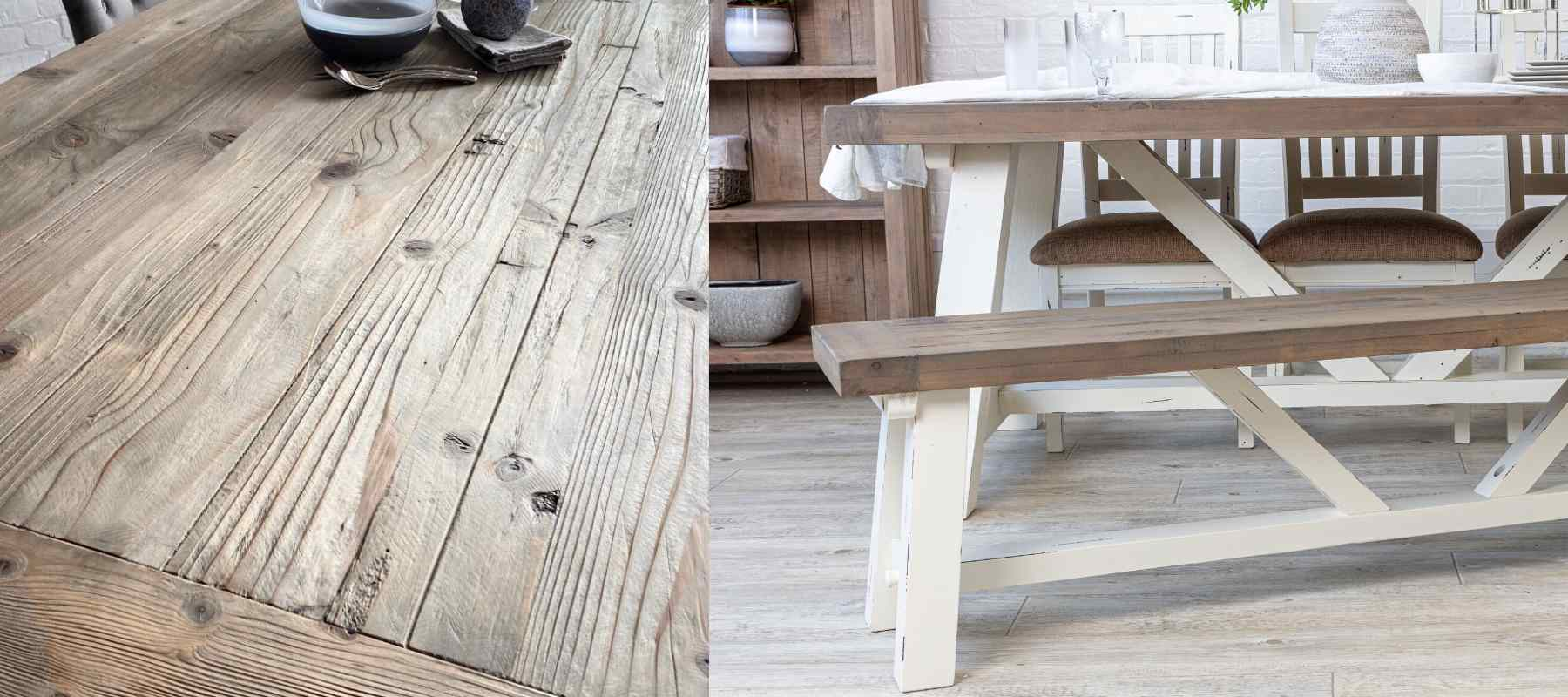 Close up of reclaimed wood and reclaimed wood dining table