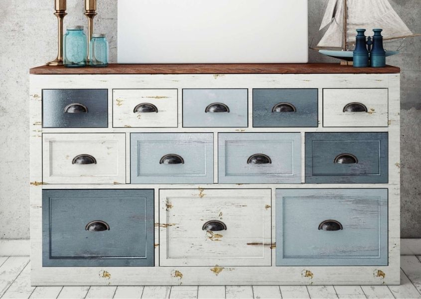 Large 12 drawer chest of drawers painted in different shades of grey