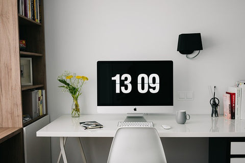 Office Desk styling for home with flowers