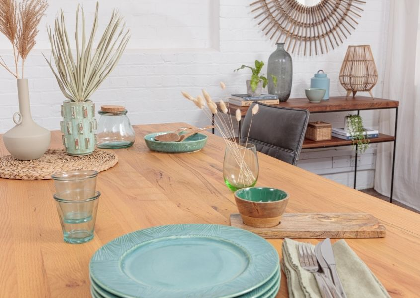 Blue plates on a rustic dining table