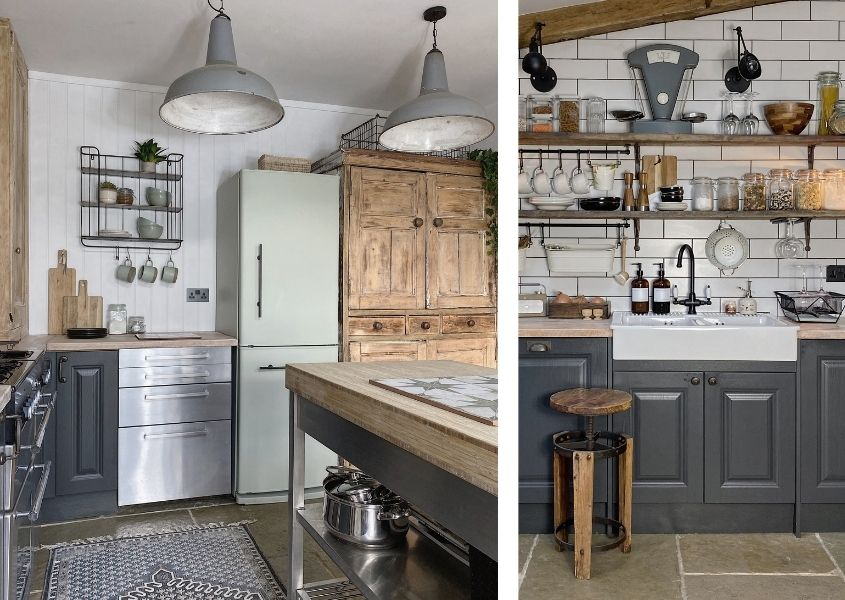 Two images of a rustic kitchen with reclaimed wood dresser and dark grey painted cabinets with rustic open shelves