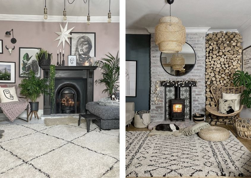 Two images of Boho style living rooms with large cream rugs and rustic fireplaces