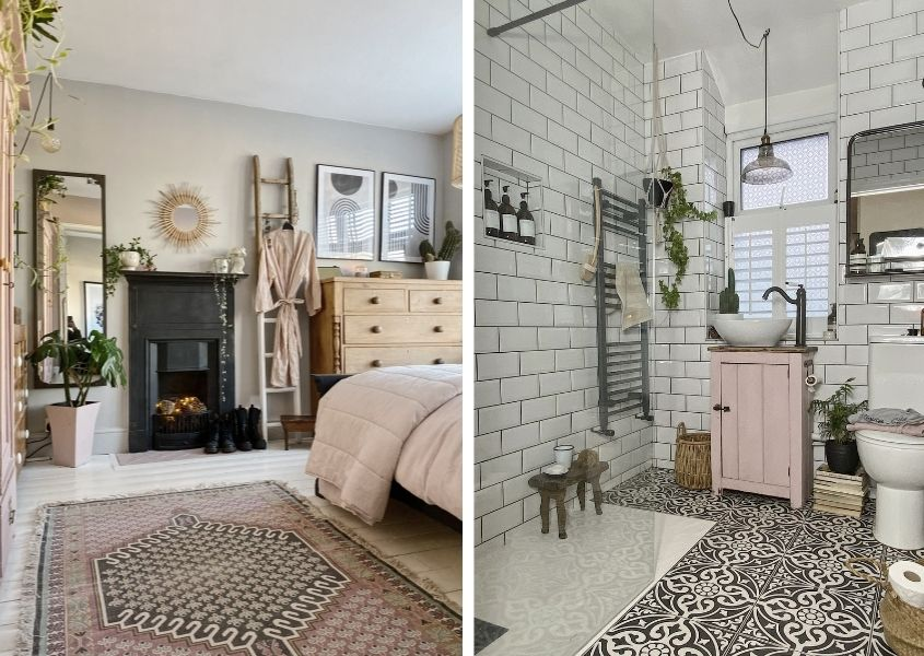 Two images, one of a bedroom with a rug beside the bed and black metal fireplace. The second image is a shower room with pink wooden cabinet and metro tiled walls