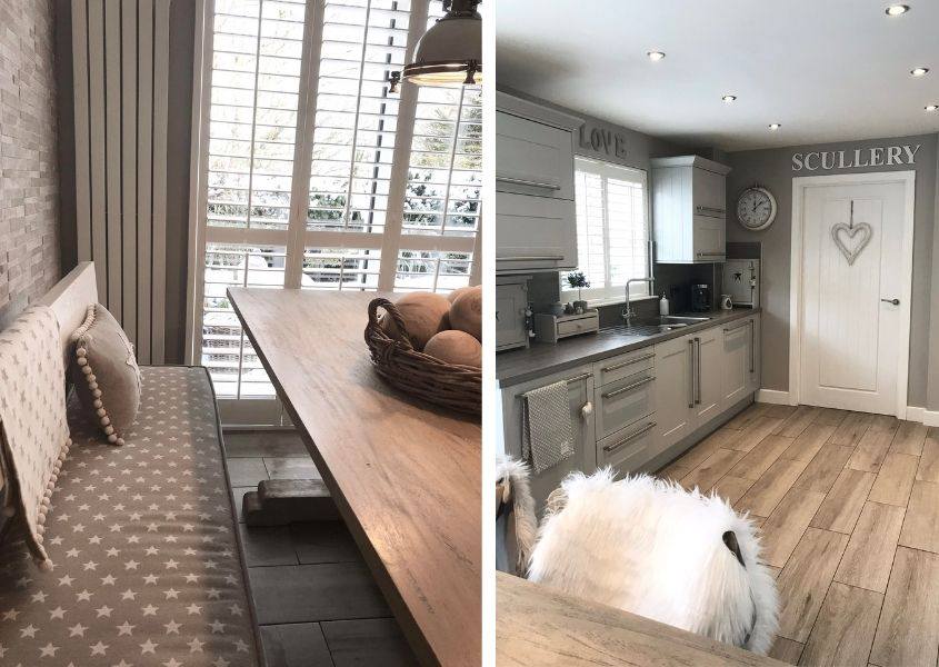Two images of a grey wooden kitchen with wooden floor and close up of wooden table