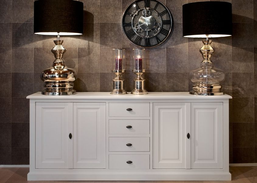 Large white sideboard with two table lamps