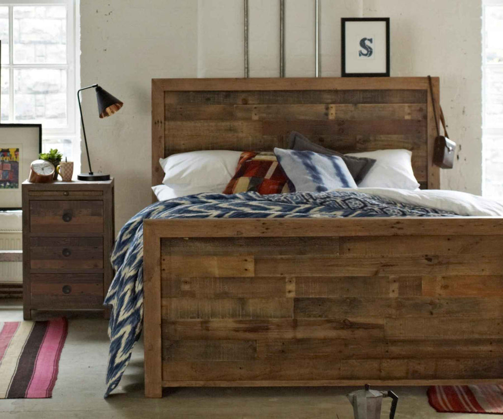 Matching reclaimed wood bed and bedside table