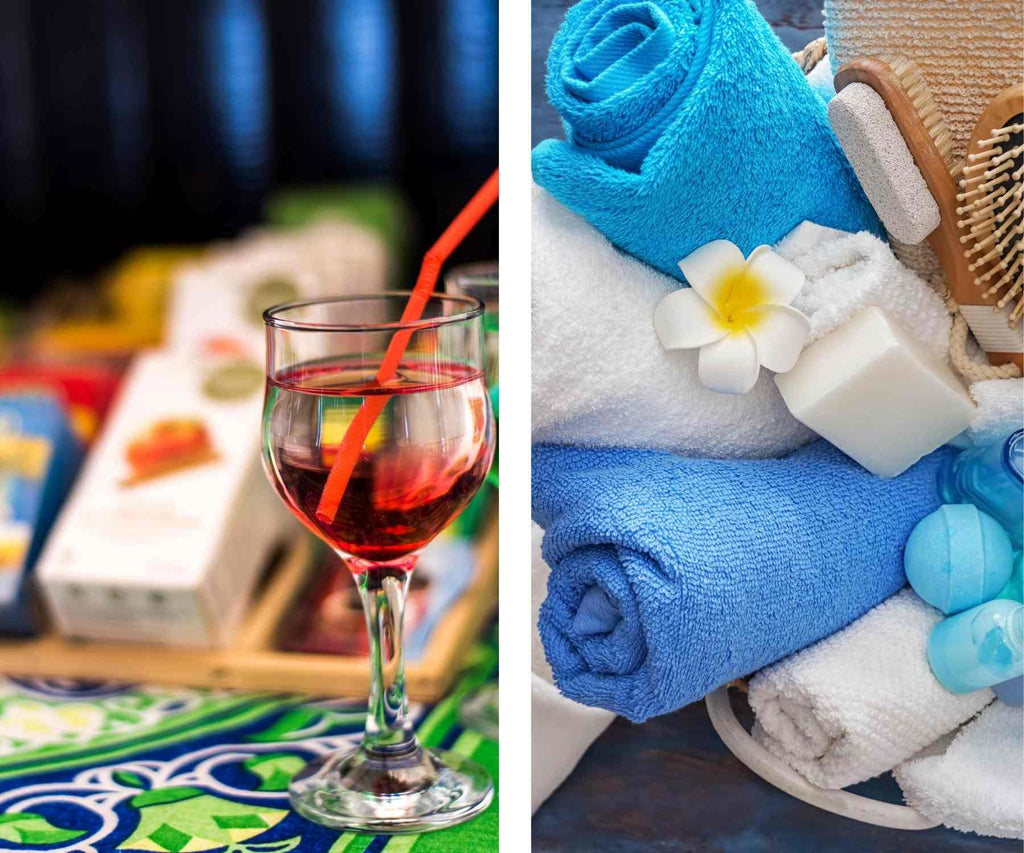 Close up of wine glass with snack selection in background and image of blue and white towels with soap