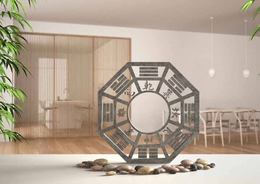 Round feng shui ornament with pebbles in a home