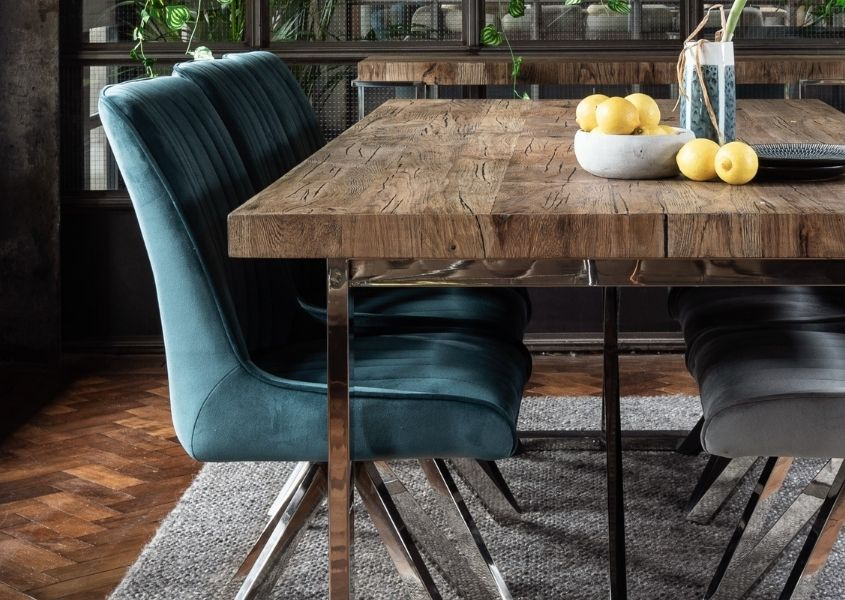 blue velvet dining chairs with polished silver legs