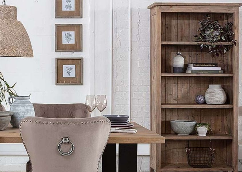 Reclaimed wood bookcase for How to Style a Bookcase blog