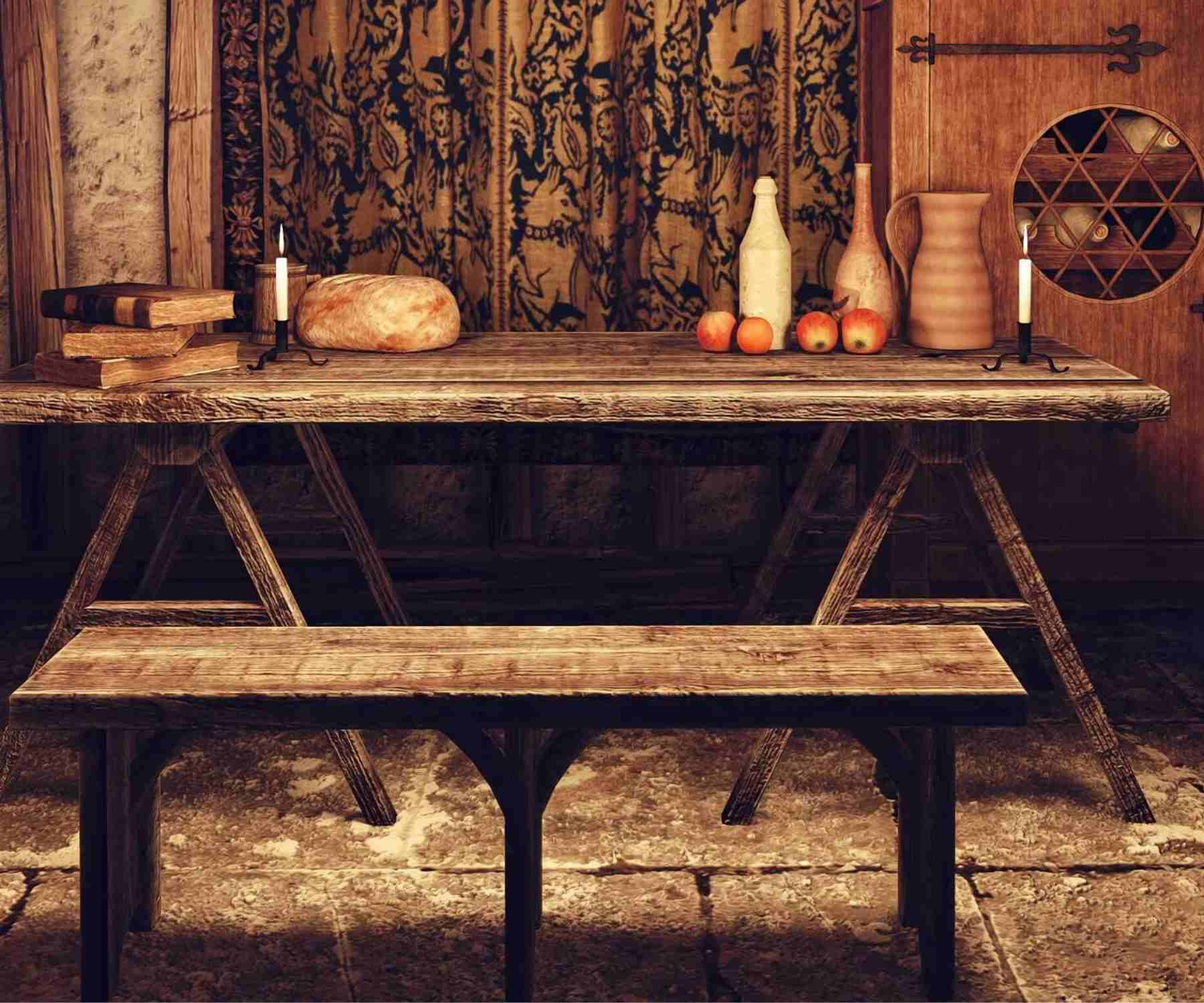 Rustic industrial dining table with bench