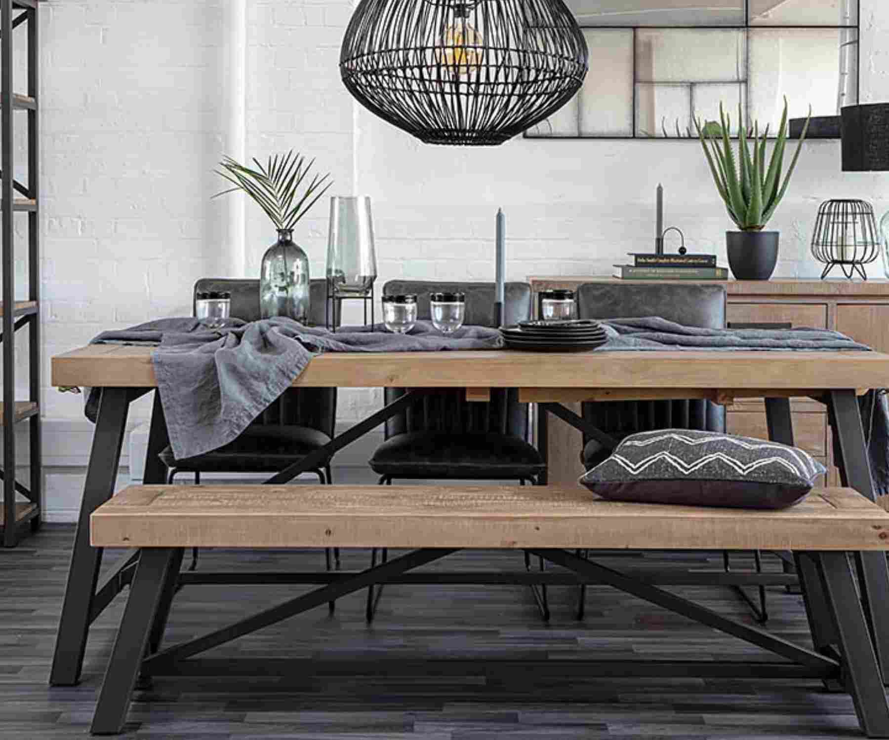 Industrial dining table and matching bench with black steel legs
