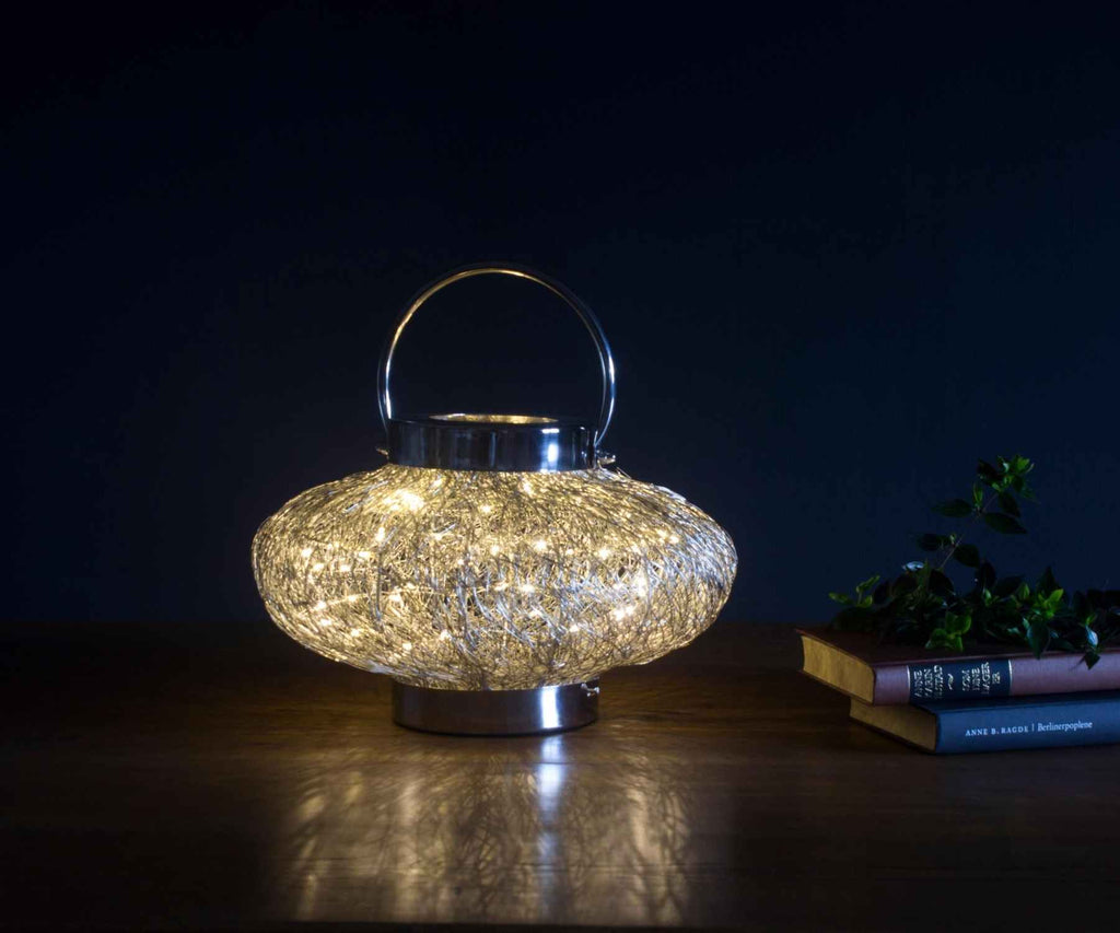 Sparkling light on wooden table