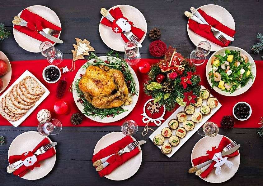 Red and white Christmas dinner table