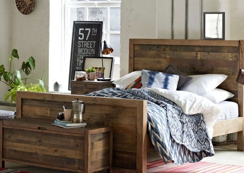 reclaimed wooden bed frame and wooden blanket box