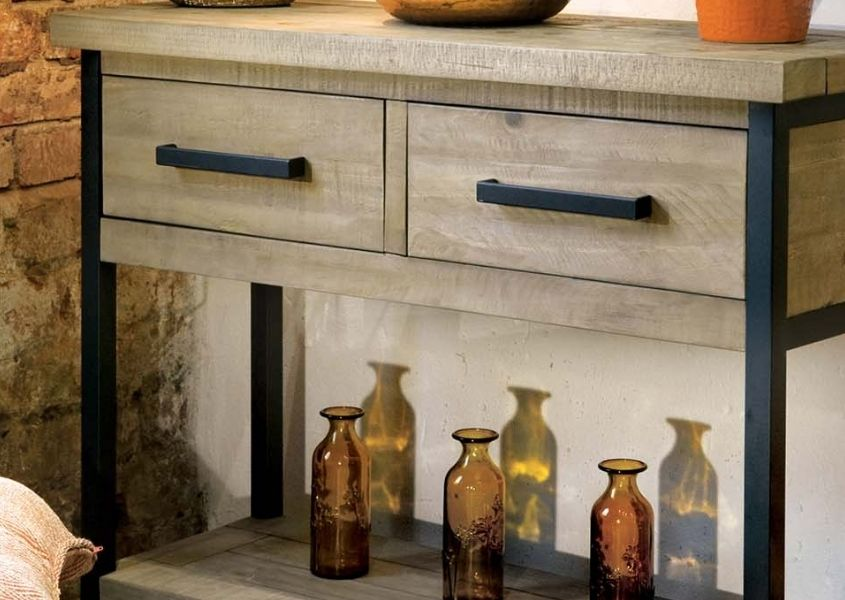 industrial console table with two drawers