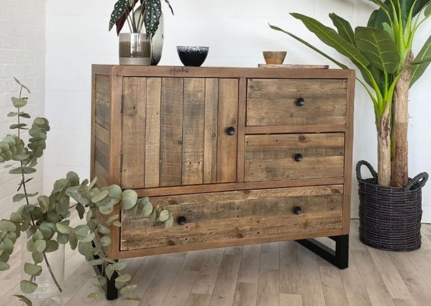 industrial sideboard with cupboards and drawers