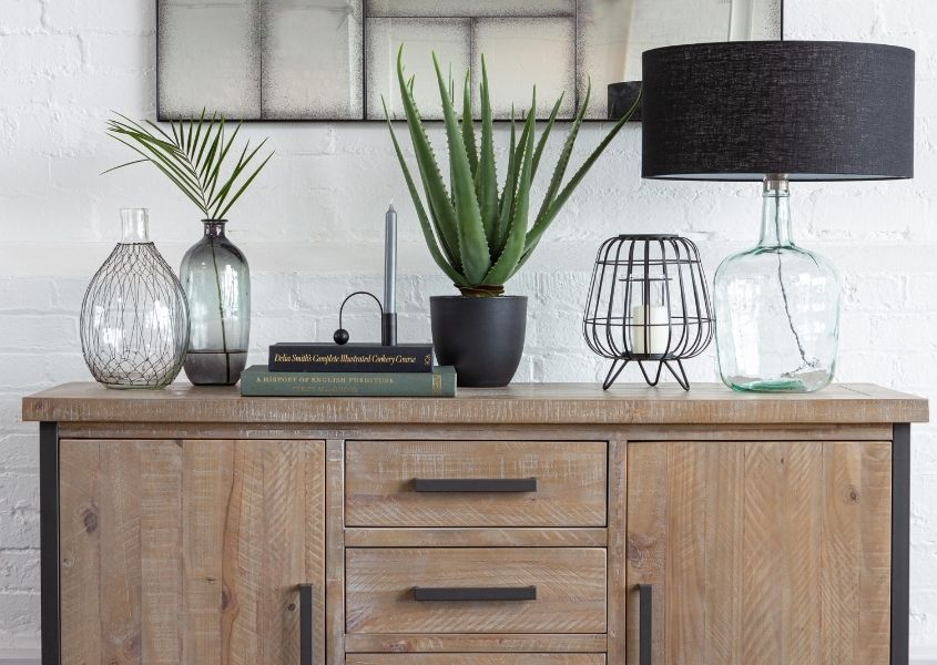 Industrial sideboard with glass table lam, glass vases and green aloe vera plant