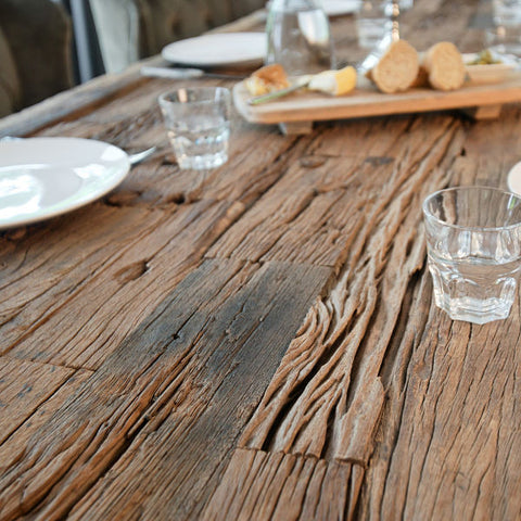 Luxe Kensington reclaimed wood dining table close up sleeper