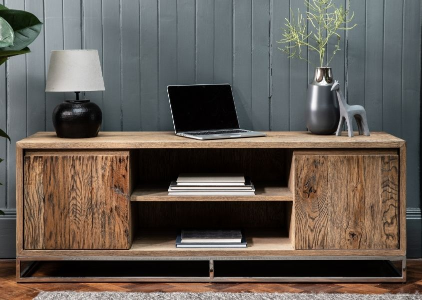 Rustic reclaimed wood tv stand with two cupboards and middle shelf
