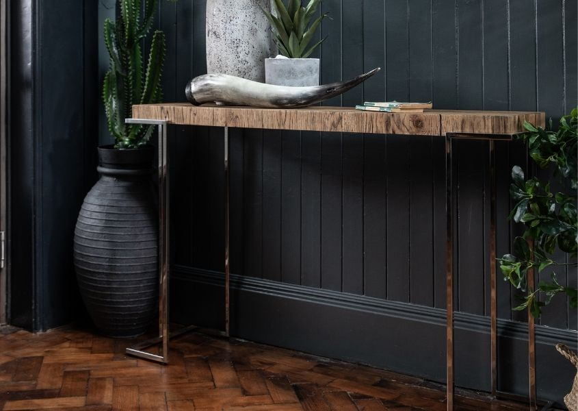 Reclaimed wood narrow console table
