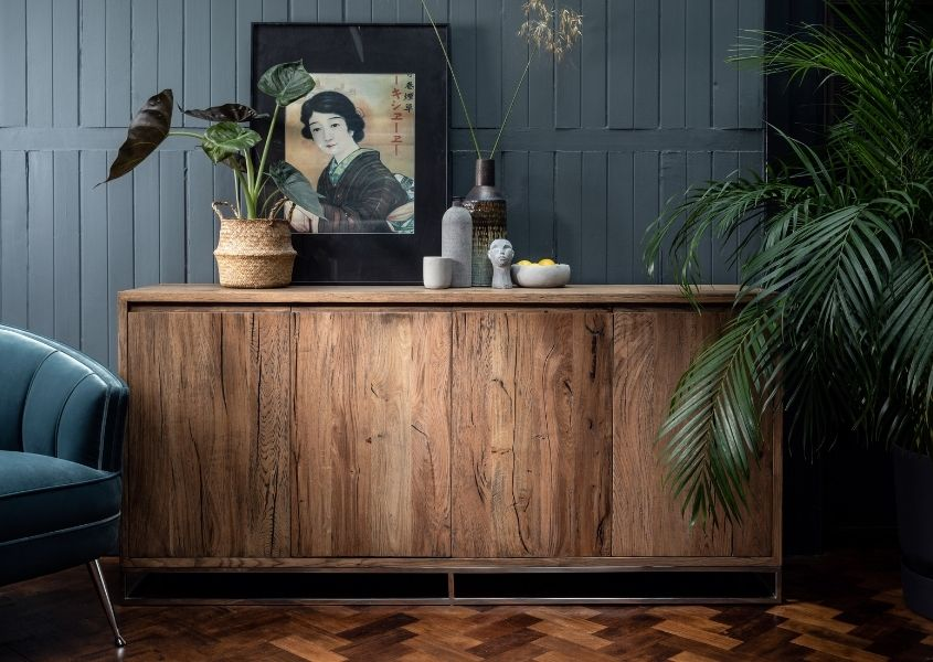Large reclaimed wood sideboards with large palm and oriental print on top