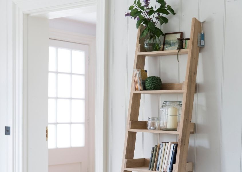 Open ladder bookcase with books and plants in a white bright room