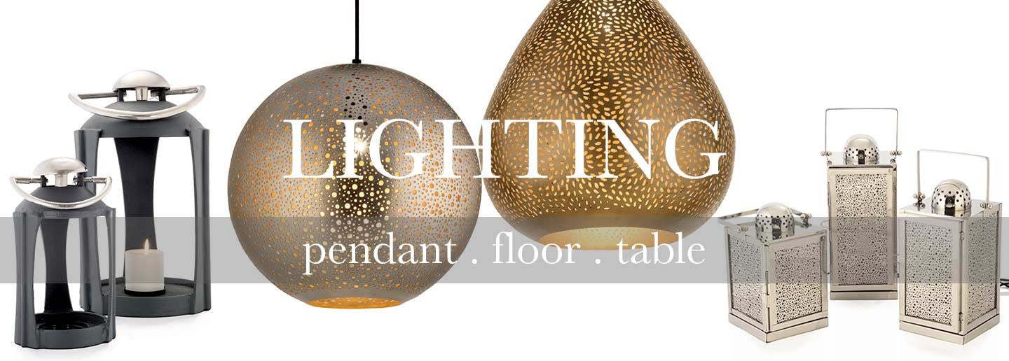 Lighting for the home including pendant, floor and table lamps