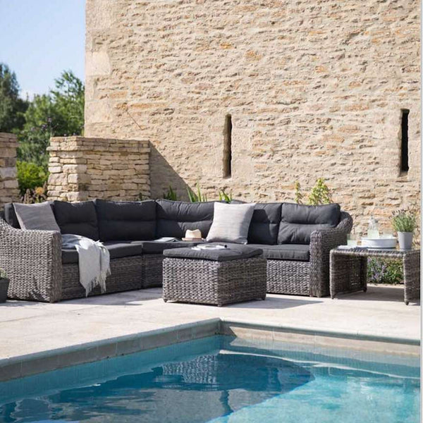 Lodsworth Rattan Corner Sofa Set with coffee table