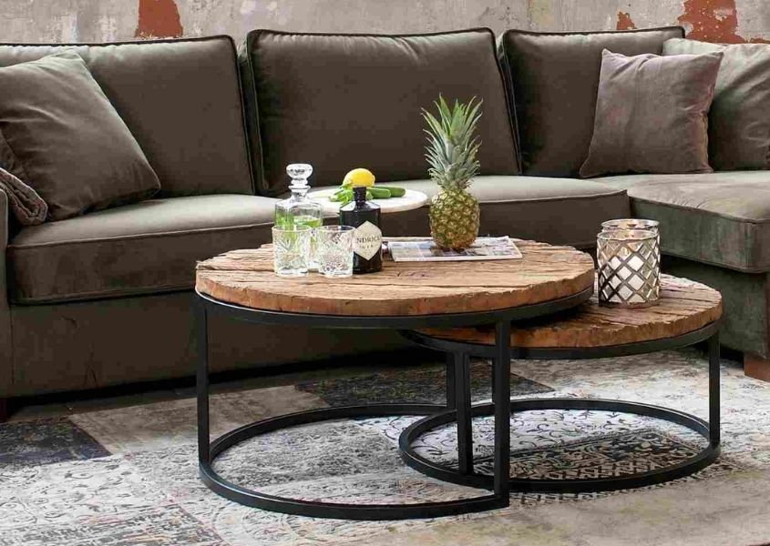 Industrial nest of tables with grey fabric sofa