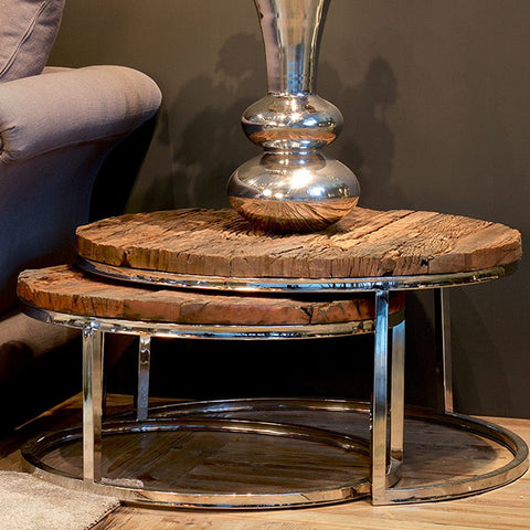 Luxe Kensington Reclaimed Wood Round Nest of Tables for Living Room