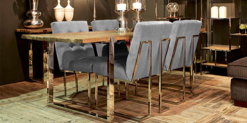 Maddox Reclaimed Elm Dining Table with madison dining chairs in dining room