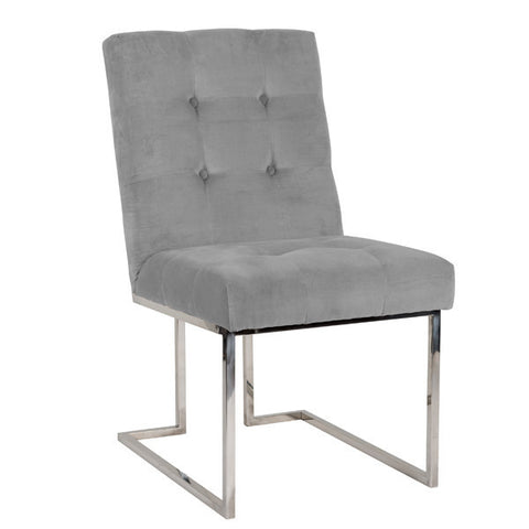 Luxe Madison Chrome Grey Upholstered Dining Chair (pair) for dining table