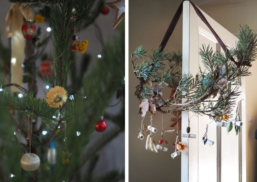 Two images of Christmas decorations using dried flowers
