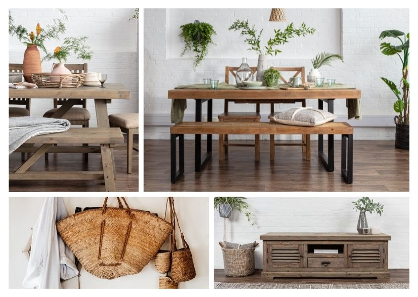 grid of collection of rustic dining tables and reclaimed wood dining tables