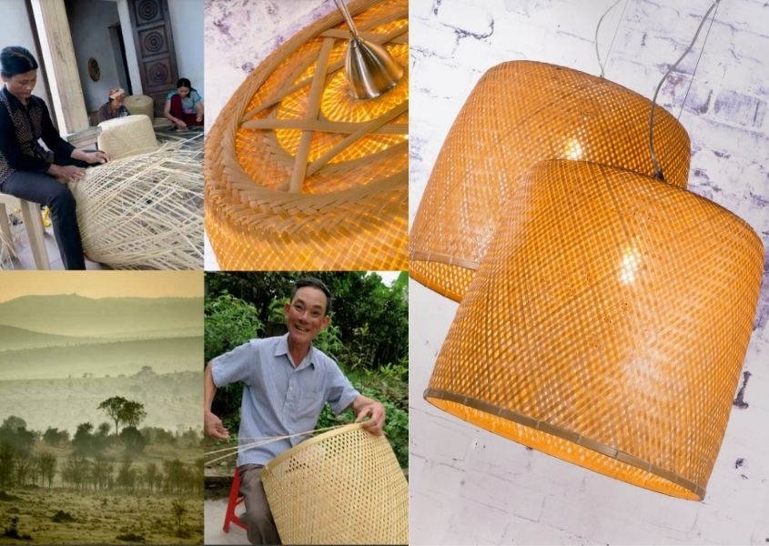 Five different images of a bamboo hanging pendant light, including a man making the light and tropical location where light is made