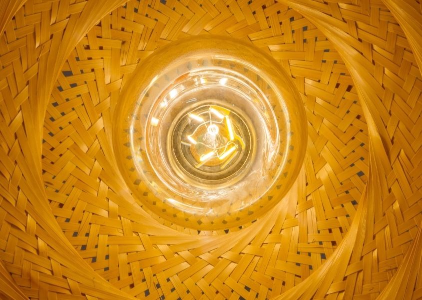 Close up of inside of bamboo light shade