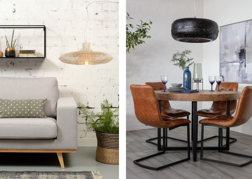 Two images of hanging pendant lights - black bamboo ceiling light over round dining table and natural bamboo hanging next to a grey sofa