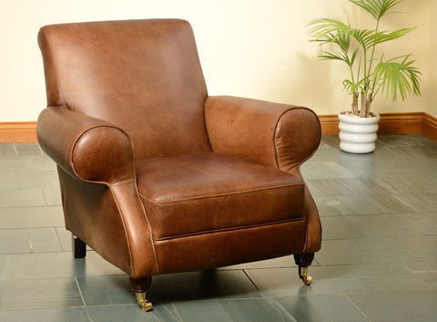Milano Brown Cerate Leather Club Chair for living room