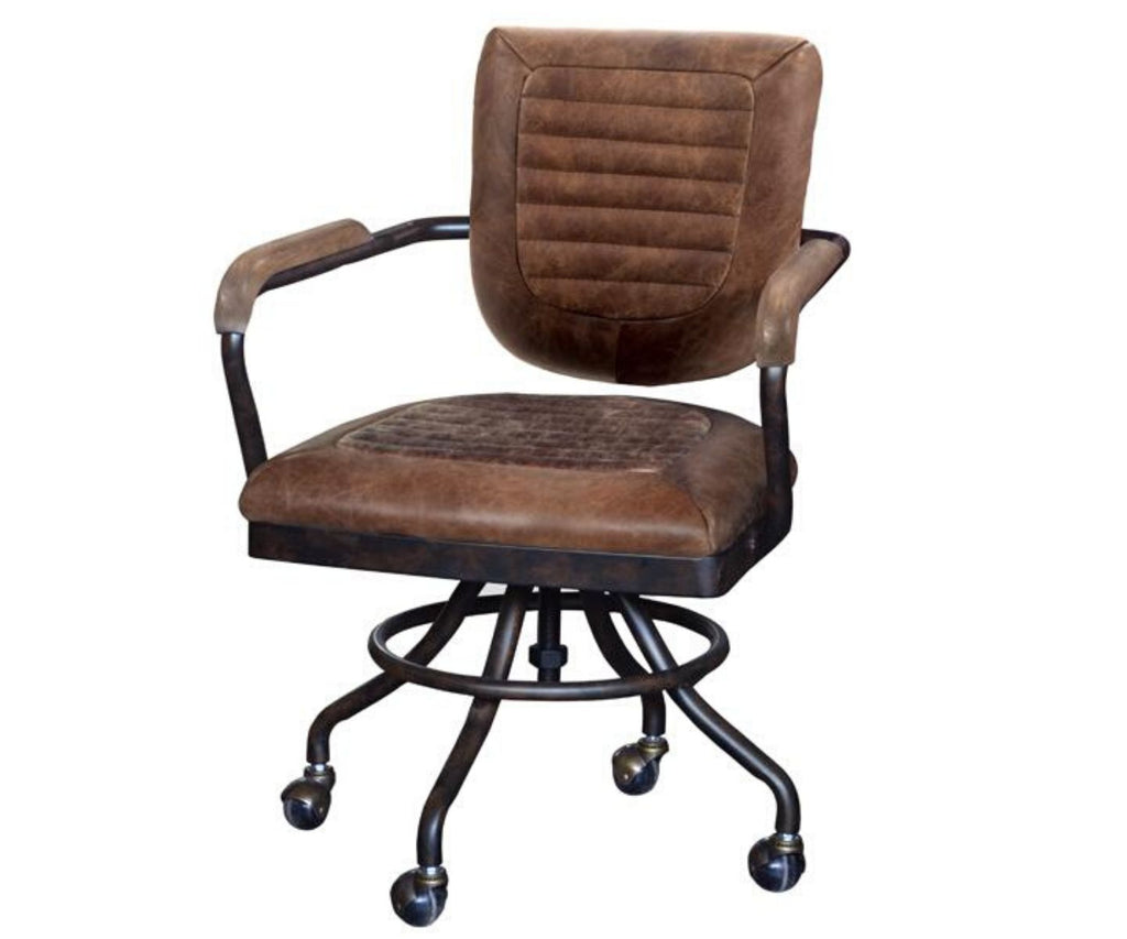 Brown leather office chairs with arms