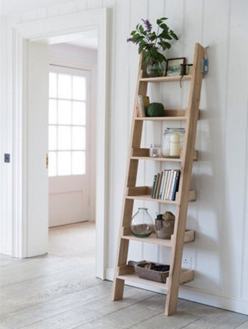 Oak ladder bookcase open shelving scandinavian design